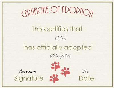 puppy adoption certificate templates