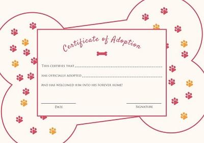 pet adoption certificates printable
