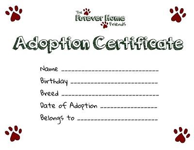printable pet adoption certificate