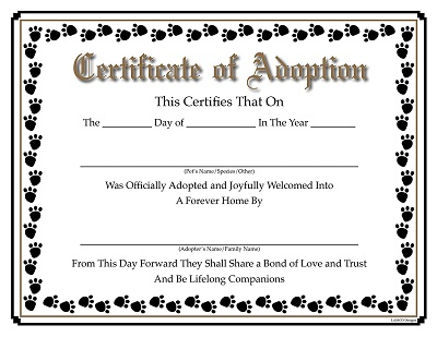 puppy party adoption certificate
