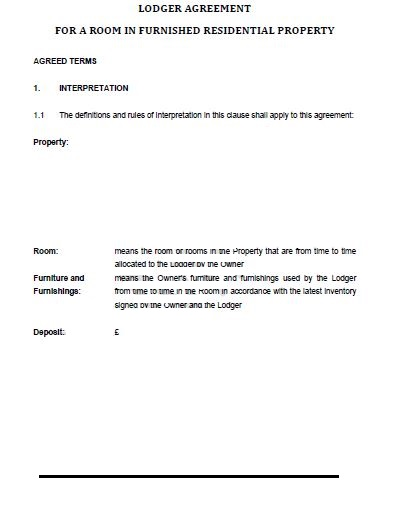 lodger agreement template free