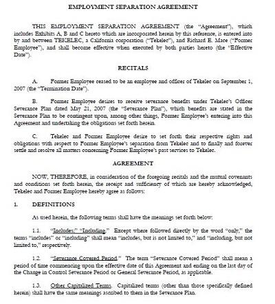 employee separation certificate