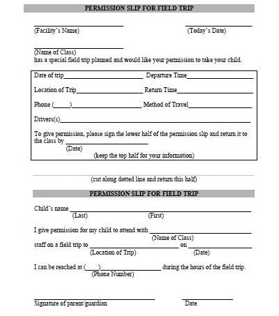 parent permission slips