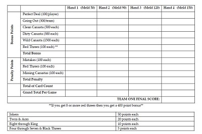 hand and foot canasta score sheet