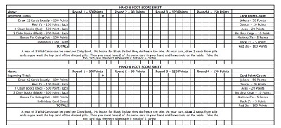 Hand and Foot Score Sheet