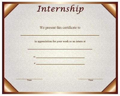 Internship Certificate Templates