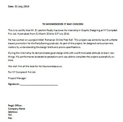 internship completion letter from company