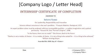internship certificate content