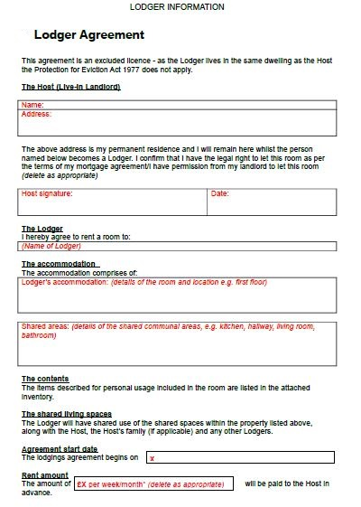 lodger agreement free download, sample lodger example