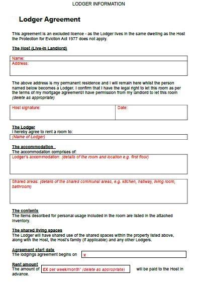 free lodger agreement pdf