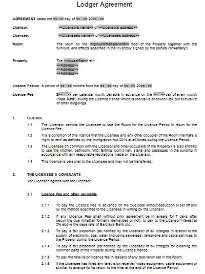 free simple lodger agreement