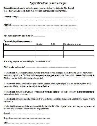 lodger agreement template uk