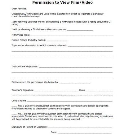 permition form