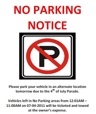 parking warning notice template
