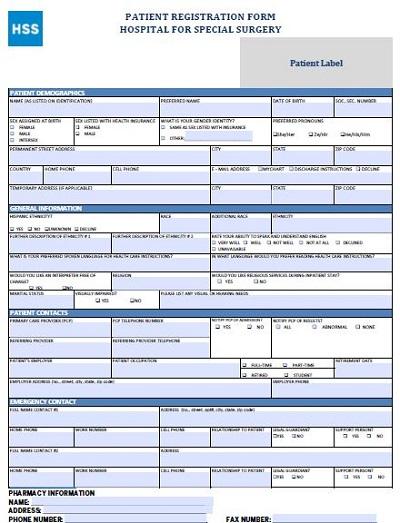 patient registration form in hospital