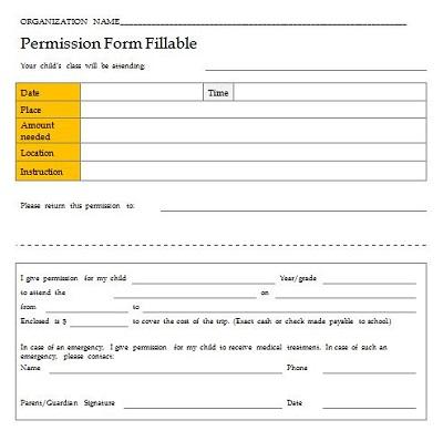 Permission Slip Forms