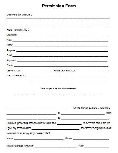 school field trip permission slip