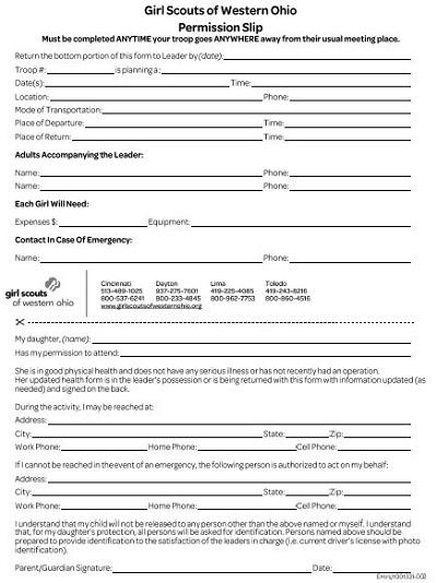 printable permission slips