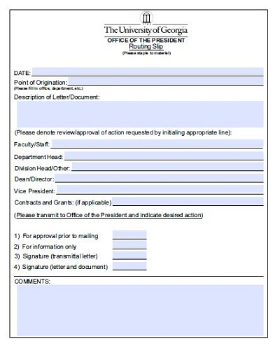 routing and transmittal slip