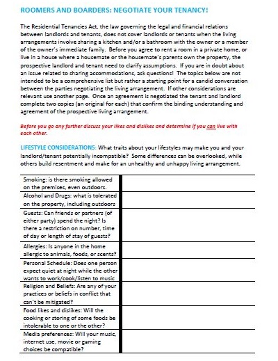 tenancy agreement for lodger
