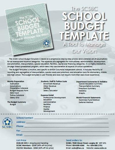 elementary school budget template