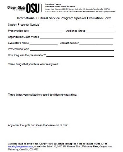 powerpoint presentation evaluation form