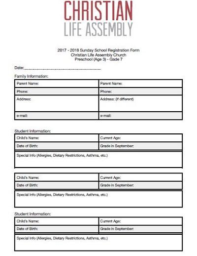 church nursery parent information sheet
