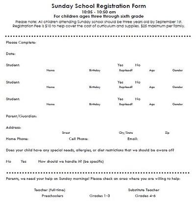 school enrollment forms templates