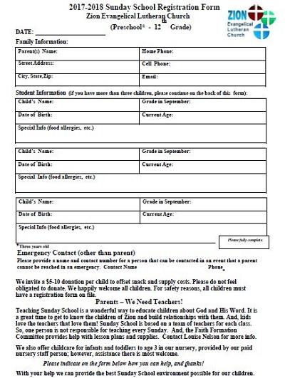 nursery registration forms