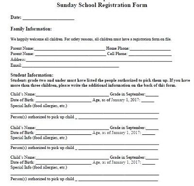 school registration forms