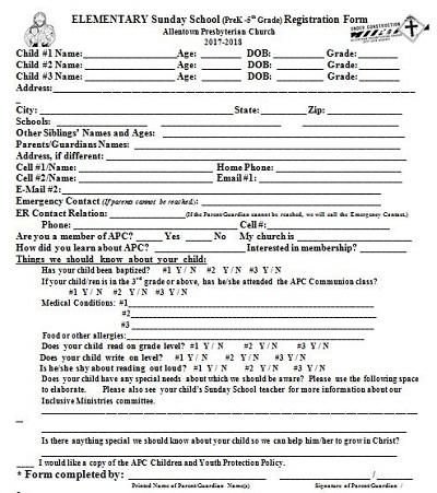 free children's church registration form