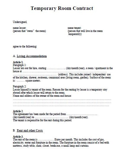 excluded tenancy agreement template