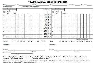 volleyball book sheet