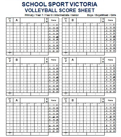 Volleyball Score Sheets