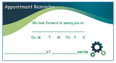 appointment reminder card template free