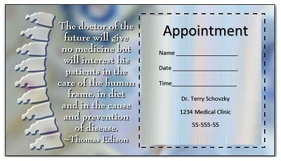 appointment reminder card template