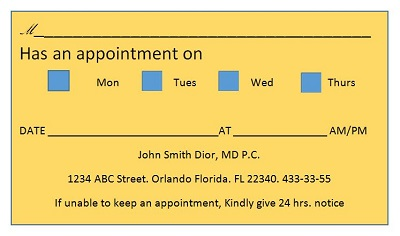 appointment business card template