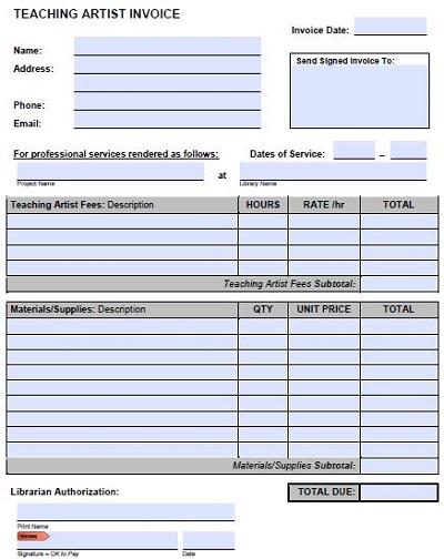 freelance artist invoice template