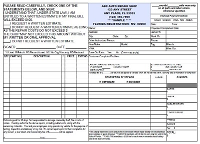 automotive repair estimate form