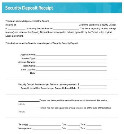 receipt for security deposit
