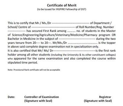 certificate of merit award