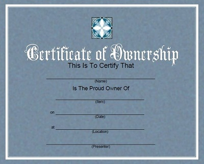 certificate of ownership