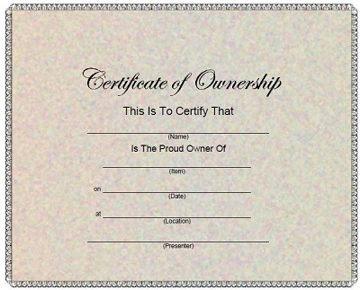 certificate of ownership template