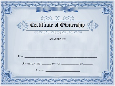 Certificate of Ownership Templates
