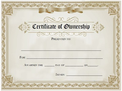 certificate of ownership pension sample