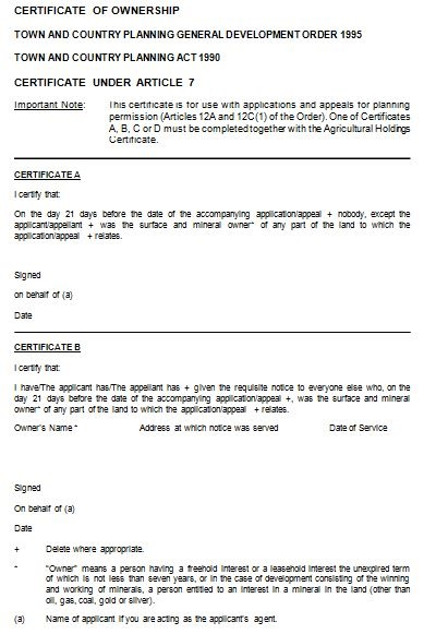 property ownership certificate