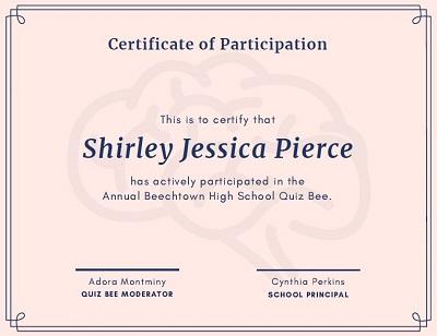 certificate of participation template editable