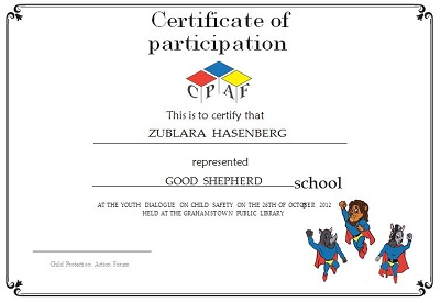 participation certificate free
