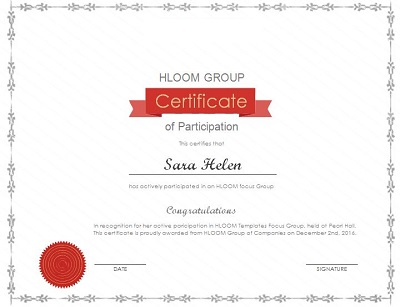 participation certificate