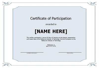 printable certificates of participation